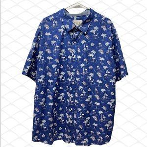 True Nation flamingo palm trees blue shirt 2XL